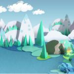Bild Paper Craft Mountains And Sea Landscape